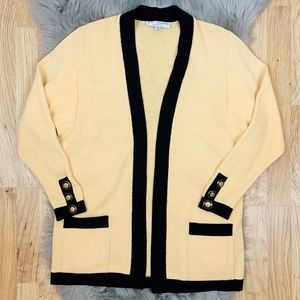 St. John Santana Knit Open Front Cardigan Yellow